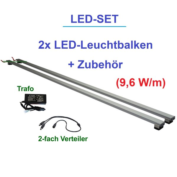 Aquarium Set.2 LED-Leuchtbalken 30-200 cm Photosynthese Blau 9,6 W/m