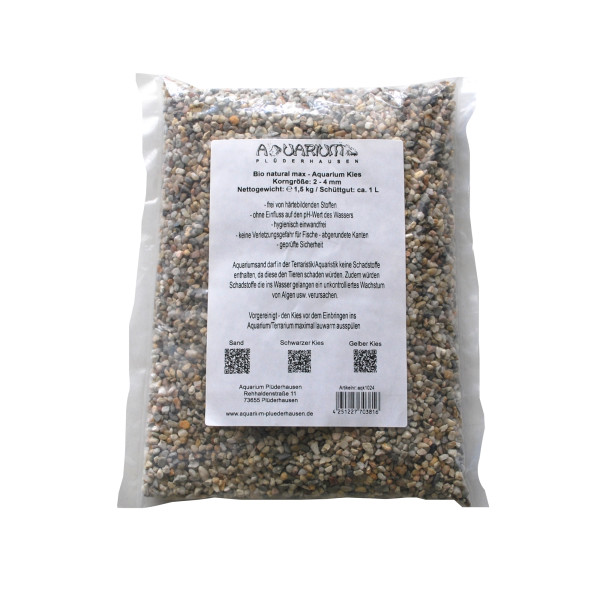 Aquarium Kies trocken, Bio natural max, Körnung 2-4 mm, 1 Liter 1,5 Kg Beutel